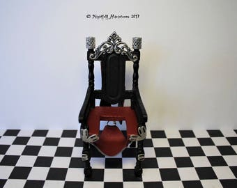 Dollhouse Miniature BDSM Bondage Fetish Queening Femdom Red Leather Chair  in 1:12 scale 18+