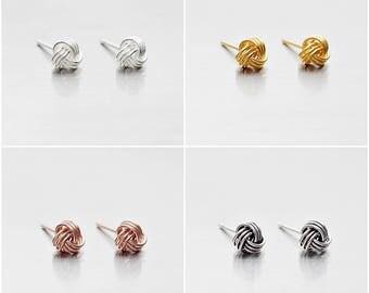 925 Sterling Silver Earrings, Knot Earrings, Gold Plated, Rose Gold Plated, Oxidized Earrings, Stud Earrings, Size 5 mm (Code : E36B)