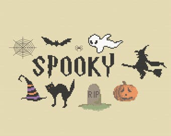 SPOOKY Halloween Cross Stitch Pattern PDF ** Instant Download **