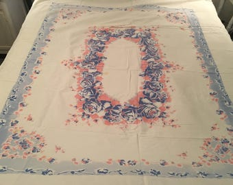 Vintage cotton tablecloth , floral, cotton ,cutter