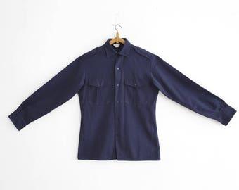 1960s French Navy Service shirt - Gabardine - Small