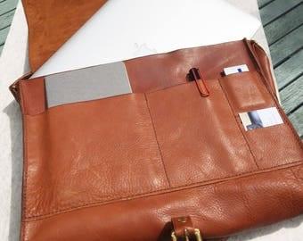 Kuki Originals Hand Stitched Leather Satchel / laptop bag / briefcase
