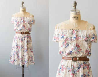 Sunny Daze dress | 1970s floral print cotton dress | Vintage ruffle dress