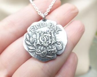 Antique 1902 Sterling Silver Edwardian Field Day Pendant Necklace, Amazing Lettering, 18'' Chain