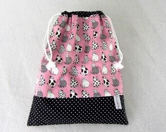 Cat drawstring bag, fabric travel bag, black and white cat bag, toy bag, made in France, shoe bag, pyjama bag, lingerie bag
