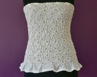 """Columbine"" Bustier: beige flowers on white smocked"
