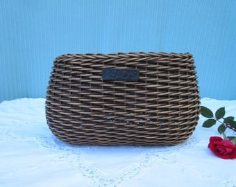 """Unusual,unique Vintage,10"""" oval woven,wicker basket,key,mail holder,remote control,TV guide"""