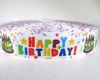 "5 yards of 1 inch ""Happy birthday"" grosgrain ribbon"