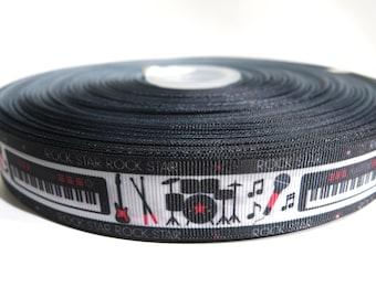 "5 yards of 1 inch ""rock star"" grosgrain ribbon"