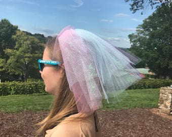 Unicorn Inspired Bachelorette Party Veil Vegas Great For A Pool Party, Beach, Club, Dancing,Bridal Party, Bride to be.