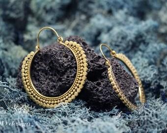 Oriental hoop brass earrings