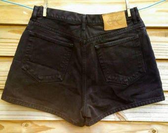 90's Vintage CALVIN KLEIN High-Waisted Black Denim / Jean Shorts- Size 10