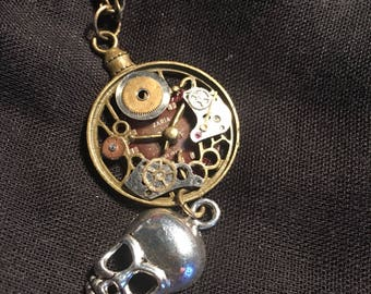 Steampunk Watched Skull Pendant