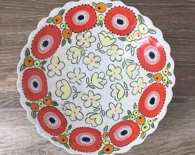 Featured listing image: Shallow Bubble Serving Bowl with Fun Floral