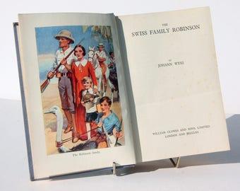 Swiss Family Robinson Vintage 1930s Hardback Old book Fiction Travel adventure Blue