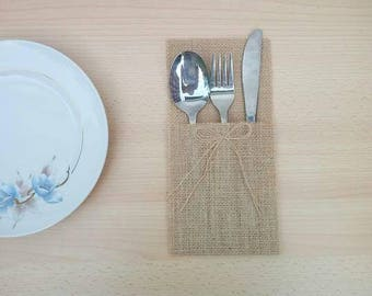 Cutlery Holder Rustic Cutlery Rustic Lace Rustic Lace Decoration Canvas Packing