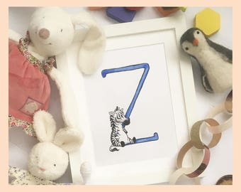 "Z is for Zebra. Animal alphabet nursery art. 8""x10"" mounted illustration print"