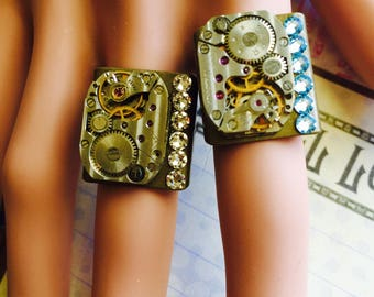 Birthstone Jewelry, Steam Punk, Steampunk Ring, Women's Jewerly, Steampunk Jewerly, Watch, Rhinestones, Woman, Watch Part,  Gift Idea