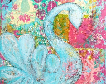 Whimsical Swan Art Print, Mixed Media, Whimsical Art, Blue, PInk, Mixed Media Bird, Wall Art, Home Decor, Bird Art, Whimsy, Bird, Art