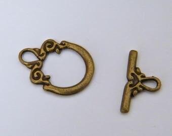 Bronze brass toogle clasp, 20 x 15 mm individually