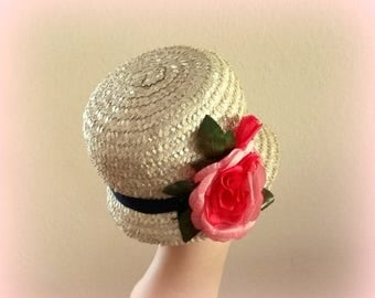 20% CIJ - 50s Cloche Straw hat - Huge Coral Bloom - Navy Blue Grosgrain Band - Lovely