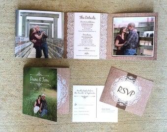 CUSTOM ORDER 5x5 Burlap and Lace Rustic Tri-Fold Wedding Invitation & Envelopes