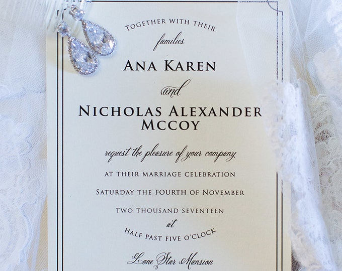 Black Tie Formal Classic Elegant Invitation in Ivory & Black, Details Insert and RSVP (Other Colors Available)