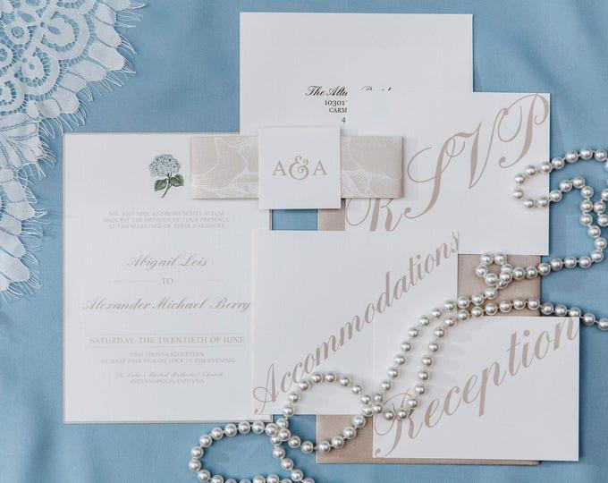 6x9 Metallic Beige and Ivory Wedding Invitation Featuring Hydrangeas, Envelope Liner, Enclosure Band & Monogram