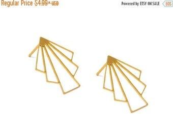 SALE Gold Art Deco Earrings, Gold Stud Earrings, Art Deco Studs, Fan Earrings, Geometric Earrings, Geometric Jewelry, Art Deco Jewelry, Whol