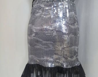 Skirt stretch sequin gray and silver motif right camouflage (TRUSSARDI)