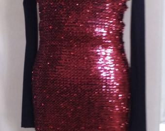 RED ON BLACK STRETCH SEQUIN SHEATH DRESS