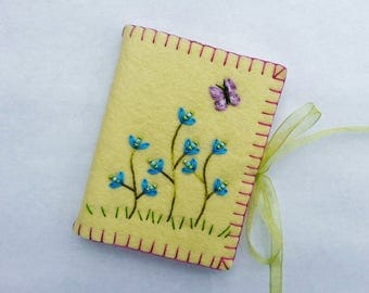 Wool Felt Needle Book, Embroidered Needle Case, Wool Needle Holder, Yellow Needle Book, Needle Book with Blue Flowers