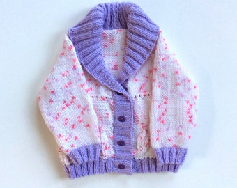 Hand knitted baby cardigan sweater, pink sweater, child cardigan, hand knit, baby cardigan, girls cardigan, baby knit sweater