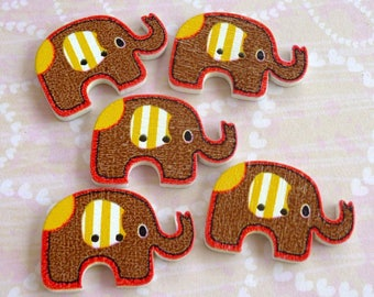 LOT 5 buttons 20 * 30mm reddish brown elephant animal scrap sewing