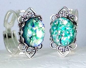 Green Dragon's Breath Opal Ring, Adjustable Stainless Steel Green Glass Opal Ring, Dragon's Breath Opal Jewelry