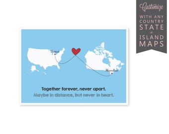 Long Distance Relationship Card Countries, Long Distance Boyfriend Gift, Long Distance Card, Long Distance Map Heart, SKU: LD001