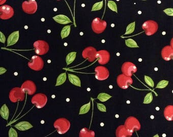 One, One Half Yard of Fabric Material - Dots and Cherries Black