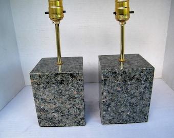 Lamp Set, Granite Base Lamps, Table Lamps, Polished Granite Lamps