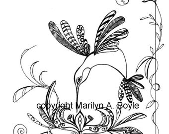 COLORING PAGE HUMMINGBIRD; flowers, zentangle, nature, adult coloring page, bird,