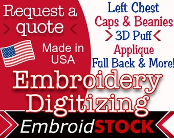 Custom Embroidery Digitizing. Get your logo digitized today!