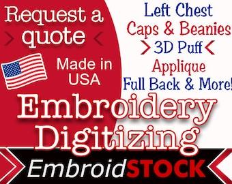 Custom Embroidery Digitizing. Get your logo digitized today!