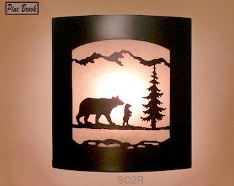 Wall Sconce Rustic Bear Light, Cabin Decor Lamp, Pine Tree, Right Facing