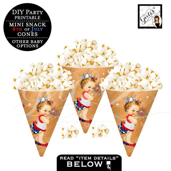 Popcorn Cones, popcorn party favors, candy wrappers, containers, party snacks, 4th of July first birthday, baby shower, PRINTABLE party.