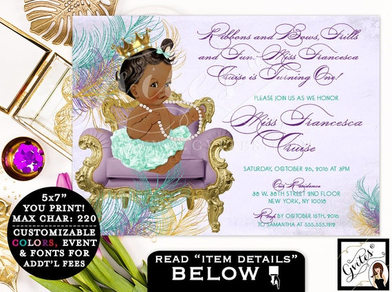 First BIRTHDAY invitation, african american baby birthday, mint green and gold, 1st birthday invite girl, purple gold mint, PRINTABLE, 7x5.