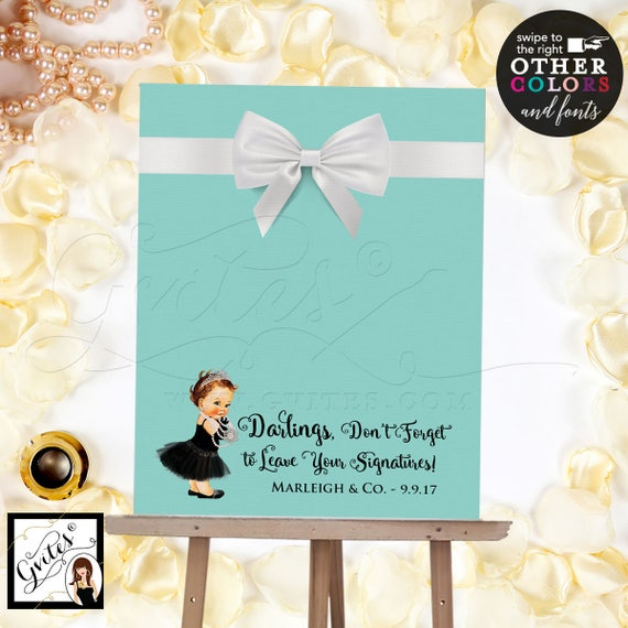 Baby and Co Baby Shower Guest Book Alternative, breakfast guestbook, sign blue theme poster signs, printable party. {realistic satin ribbon}