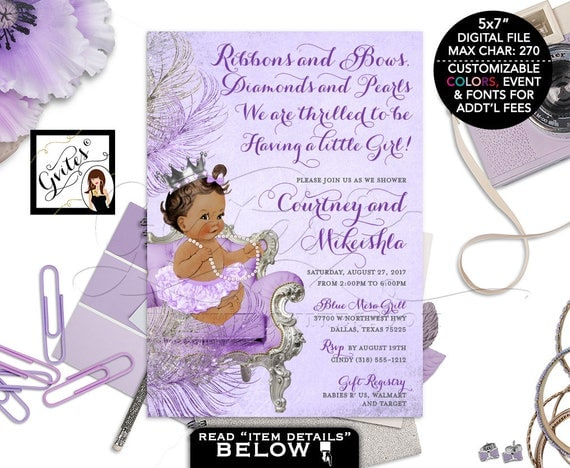 Lavender and silver baby shower invitation princess african il570xn filmwisefo