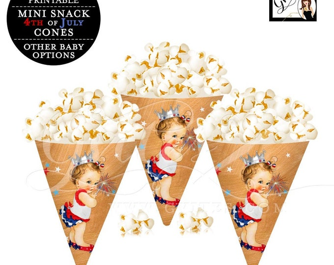 Fourth of July Popcorn Cones, popcorn party favors, candy wrappers, party snacks, 4th of July first birthday, baby shower, PRINTABLE party.