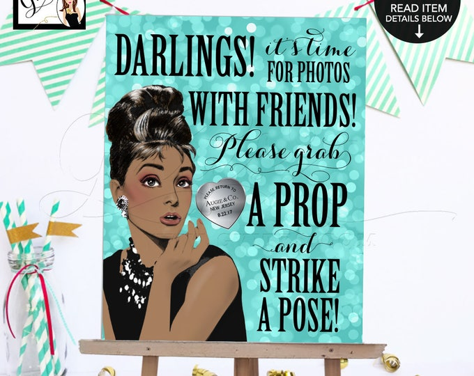 """Sweet 16 Photo Booth Sign Breakfast at Audrey's Printable, African American Audrey Hepburn grab a prop and strike a pose, 8x10"""" Gvites."""