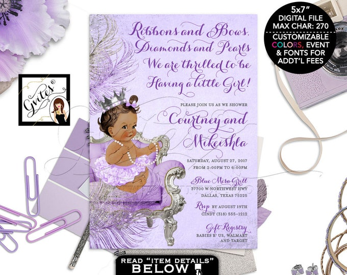Lavender and Silver baby shower invitation, princess african american baby girl, afro puffs, purple silver invites, DIGITAL 5x7 Gvites