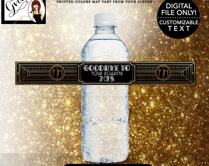"Roaring 20s party water bottle labels, great gatsby printable stickers party favors, 9.75x1.25""/5 Per Sheet {Designed Avery® 22845}"